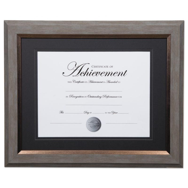 2-Tone 11 x 14 Document Frame, 8 1/2 x 11 Insert, Gray/Gold Frame, Black Mat - JAD