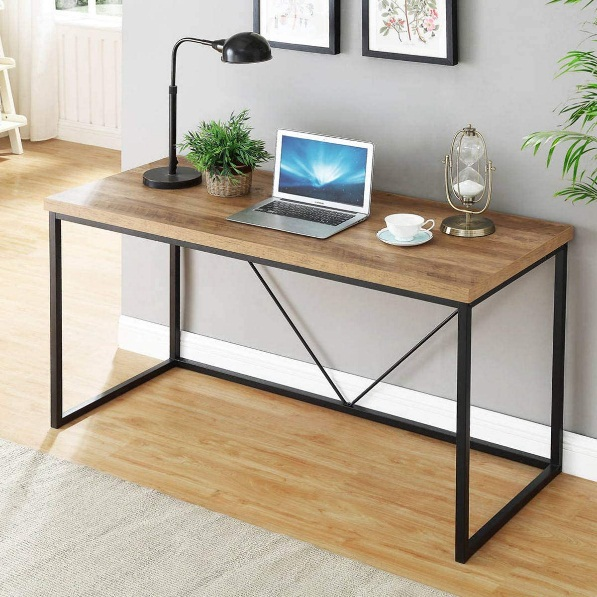 Amazon.com: FOLUBAN Rustic Industrial Computer Desk,Wood and Metal Writing  Desk, Vintage PC Table for Home Office, Oak 55 inch: Kitchen & Dining