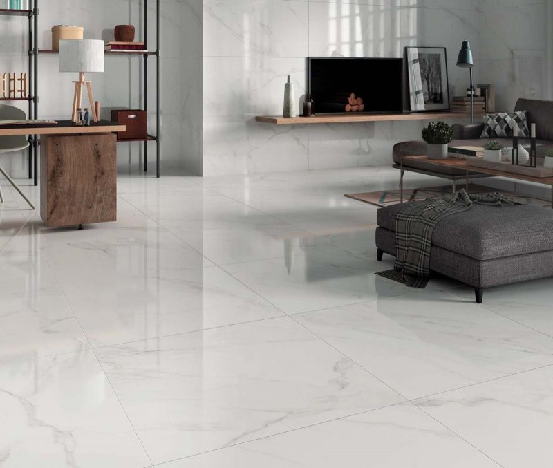 Carrara White Marble Effect Polished Floor Tile - Tiles from Tile Mountain