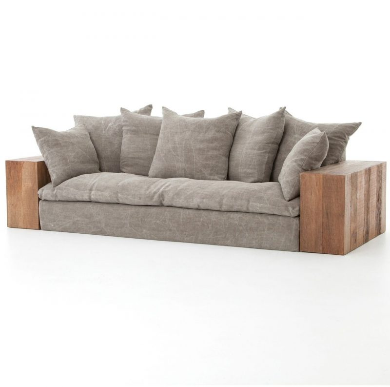 Dorset Industrial Loft Taupe Jute Sofa with Wood Arms | Rustic sofa,  Furniture, Sofa