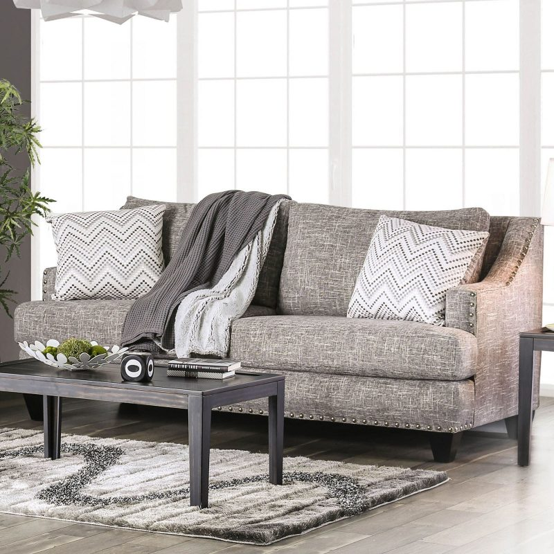 Erika Contemporary Sofa with Sloped Arms and Nailhead Trim | Household  Furniture | Sofas