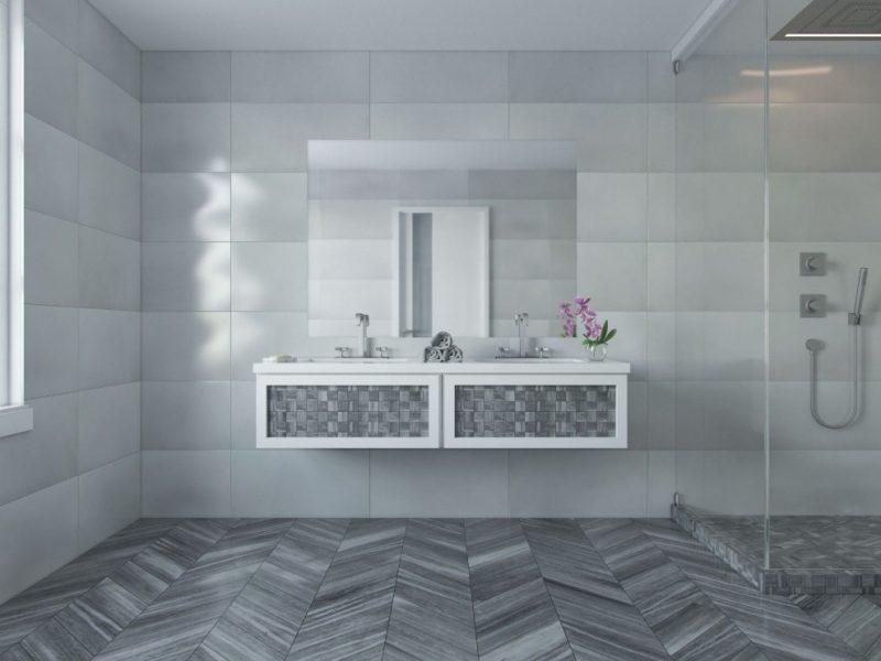 Milan Gray Chevron l Honed Marble Tile   Grey bathroom tiles, Big baths,  Round mirror bathroom