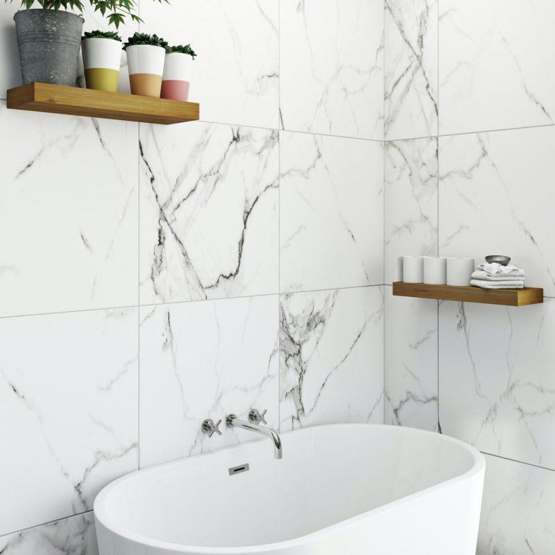 Polar white marble effect matt wall and floor tile 600mm x 600mm    VictoriaPlum.com
