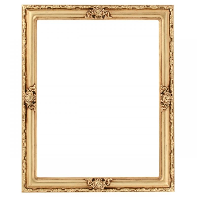 Rectangle Frame in Gold Leaf Finish| Gold Picture Frames with Antique  Stripping and Ornate Decoration