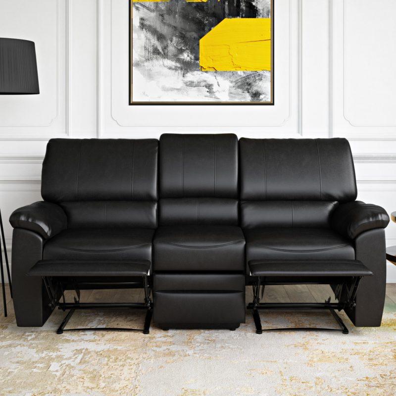 Relax-A-Lounger Clifton Faux Leather Recliner Sofa, Black - Walmart.com -  Walmart.com