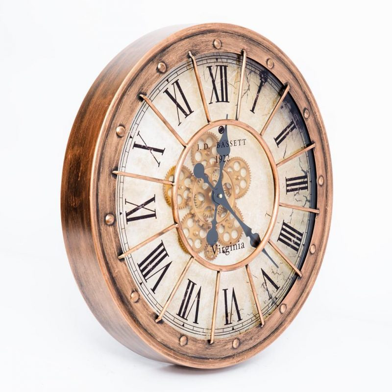 Round Roman Numeral Moving Cogs Wall Clock 59 cm