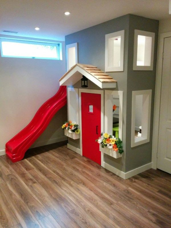 2nd story loft for under stairs Play house... Make slide flush with wall,  running down the roof same direction as stairs | Play houses, Home, Kids  basement