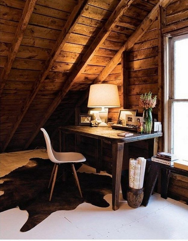 9 Great Ideas of Rustic Home Office Designs in 2020 | Rustic home offices,  Attic design, Home office design