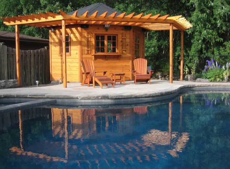 A gorgeous pool cabana, trellises made to the satisfaction of our customer.  | Pool cabana, Pool houses, Backyard sheds