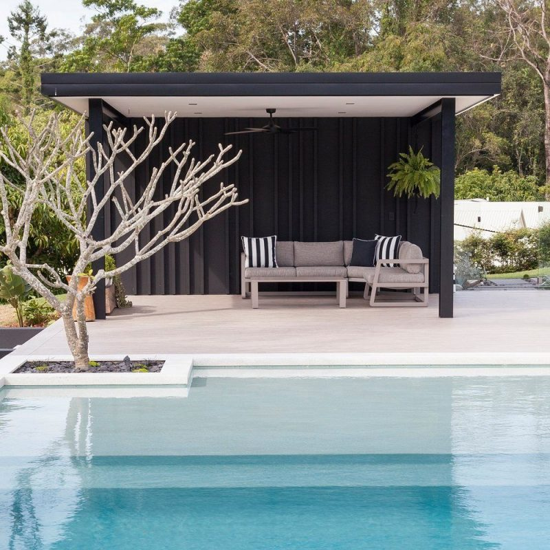 Black and White Pool Cabana - Black Panelling   Pool house ideas backyards,  Pool gazebo, Simple pool