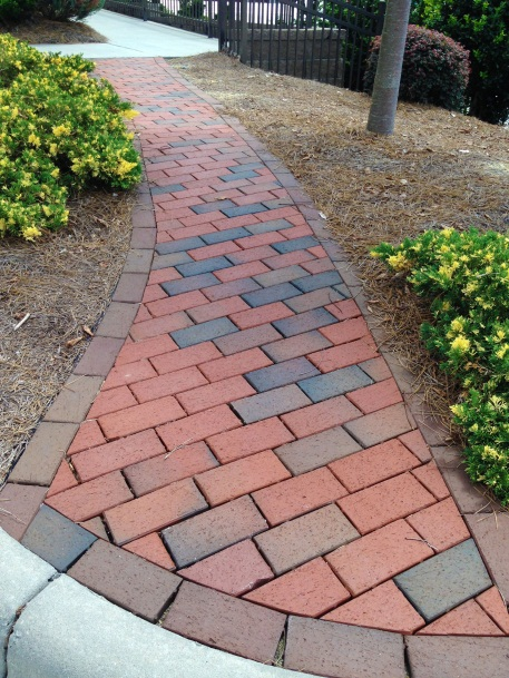 Clean and trim garden path laid in a unique diagonal stack bond pattern  with edging. Paved with Pathway Full Rang… | Garden paths, Garden paving,  Creative gardening