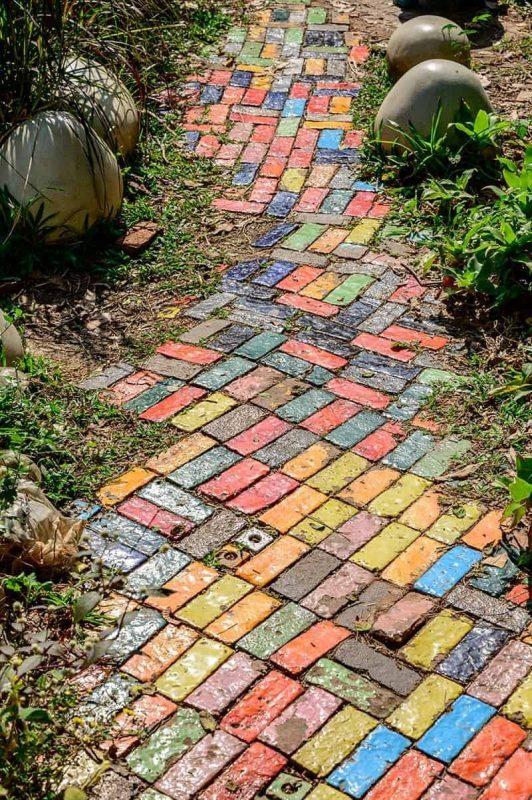 Pin by Katja on Boho garden in 2020 | Backyard walkway, Mosaic walkway,  River rock landscaping