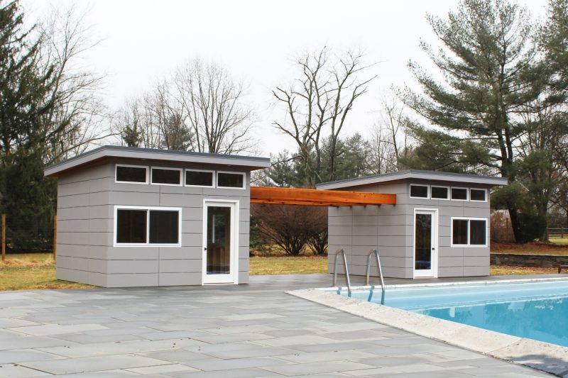 Pin by Lauren Alter on pool   Modern pool house, Modern shed, Pool house  shed