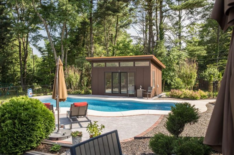 Where Can I Build A Shipping Container House-Can A Crane Lift A Shipping  Container Over A House in 2020   Pool houses, Prefab pool house, Building a  shed