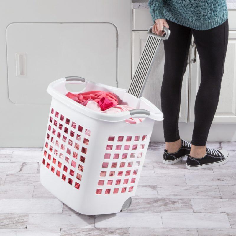 4 Pack) Rolling Laundry Hamper Basket Wheeled Clothes Storage Bin Hamper  White 841342103161 | eBay