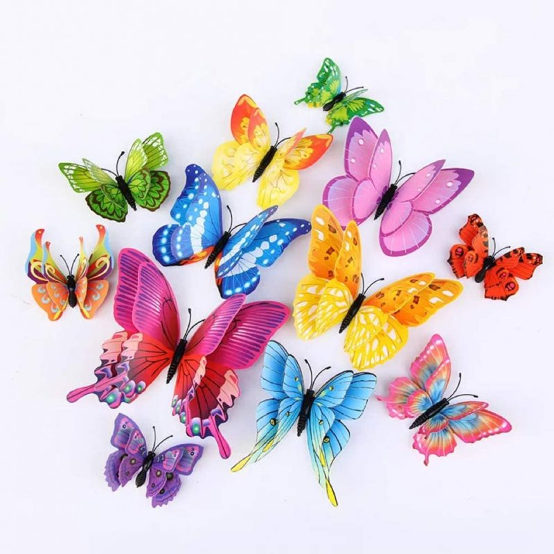 Amazon.com: 24Pcs Colorful Butterfly Wall Stickers DIY Art 3D Double Wings Decor Magnets Murals Stickers for Kids Girls Baby Women Bedroom Bathroom Living Room(Multi-Colored): Arts, Crafts & Sewing