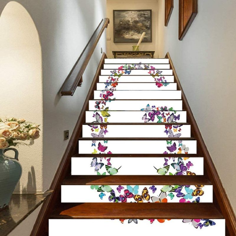 """Amazon.com: Letter G Staircase Stickers,Exotic Colorful Butterflies in The Shape of Letter G Cute Feminine Girls Design Decorative Self-Adhesive Wall Stair Stickers Mural Wallpaper for Home Decor,39.3""""x7""""x13PCS: Home & Kitchen"""