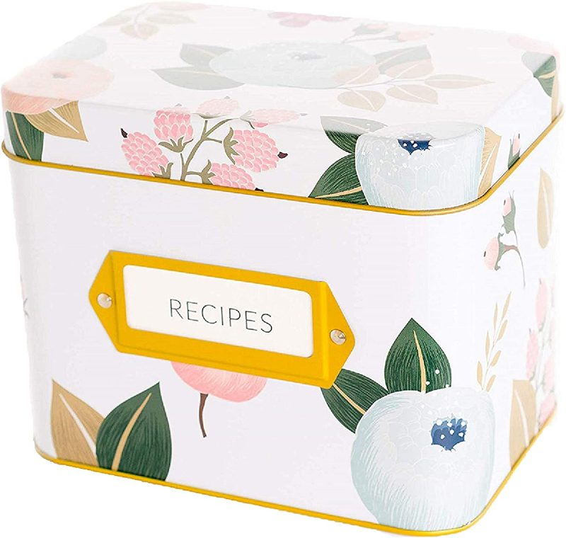 Amazon.com: Recipe Box With 24 Cards & 12 Dividers by Polite Society (White  Tin): Kitchen & Dining