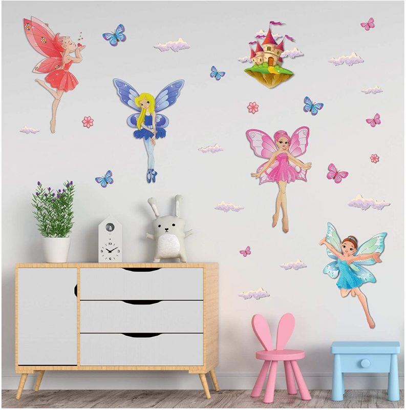 Amazon.com: Sparkly 3D Fairies Princess Wall Decals Stickers - Set of 5 Spectacular Glittery Fairies, with Butterflies and Clouds for Girls Bedroom Decor - Easy to Stick: Kitchen & Dining