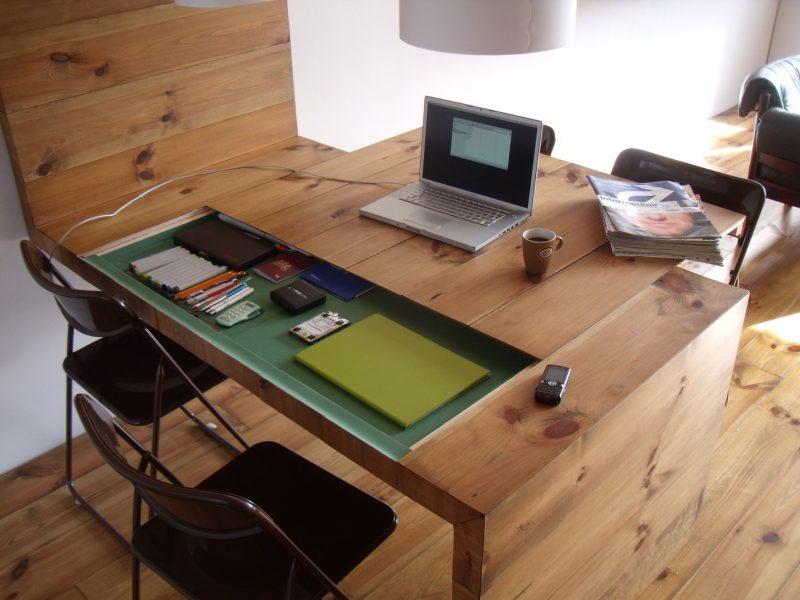 design] Finished my kitchen and living room. | Hidden desk, Desk, Home