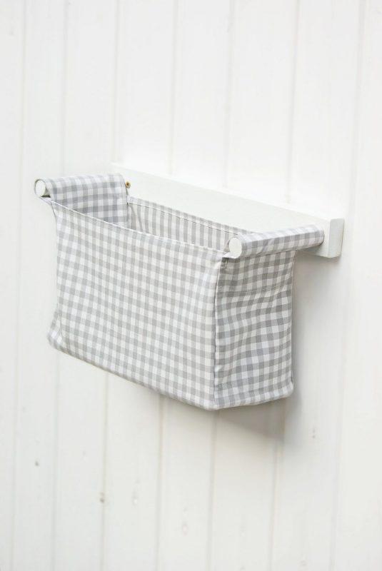 Fabric bin with wooden rack wall mounted diaper bag for baby | Wall hanging  storage, Ikea storage bins, Fabric storage bins