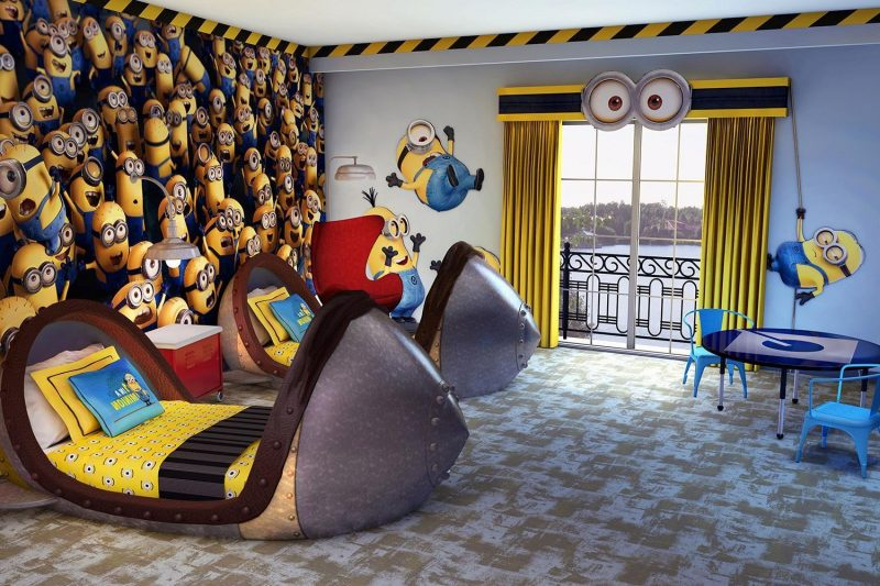 Great kids room with Minions wall design also minions wall decals and cute  unique beds : Super Cute Kids Bedroom D… | Kids bedroom decor, Unique kids  beds, Kid beds