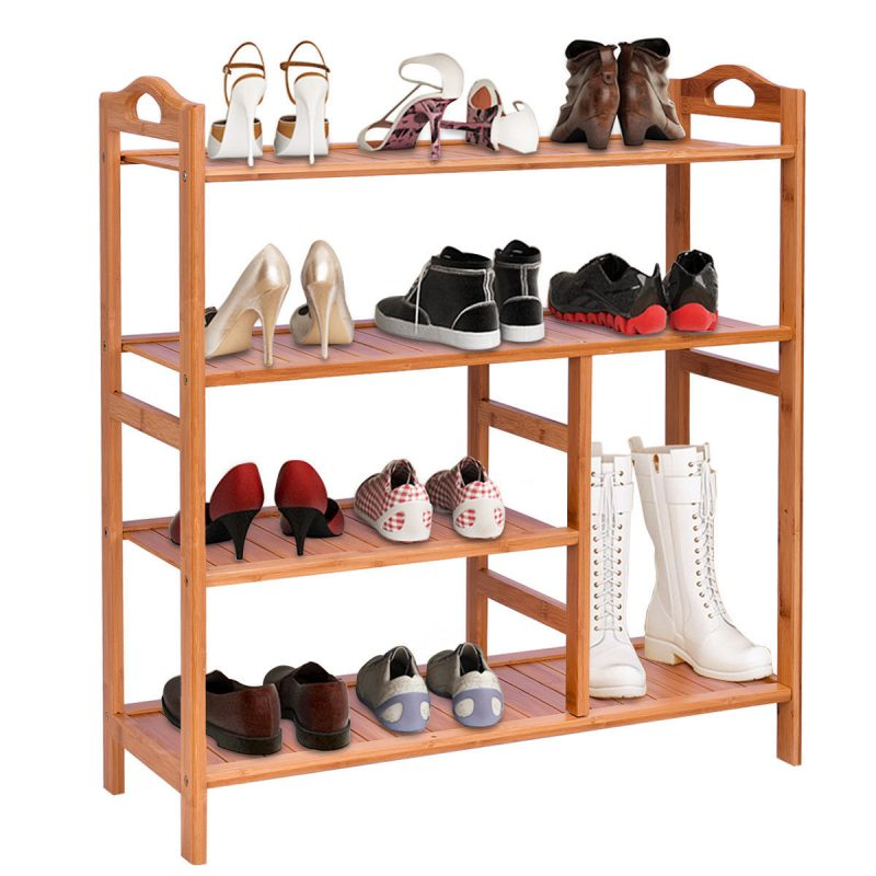 Gymax 4 Tier Multifunction Bamboo Shoe Rack Boot Tower Shelf Storage Organizer Stand | Walmart Canada