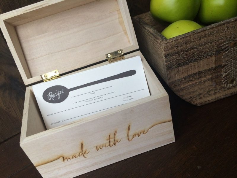 Made with Love Personalized Recipe Box | Recipe box diy, Personalized recipe  box, Diy recipe cards