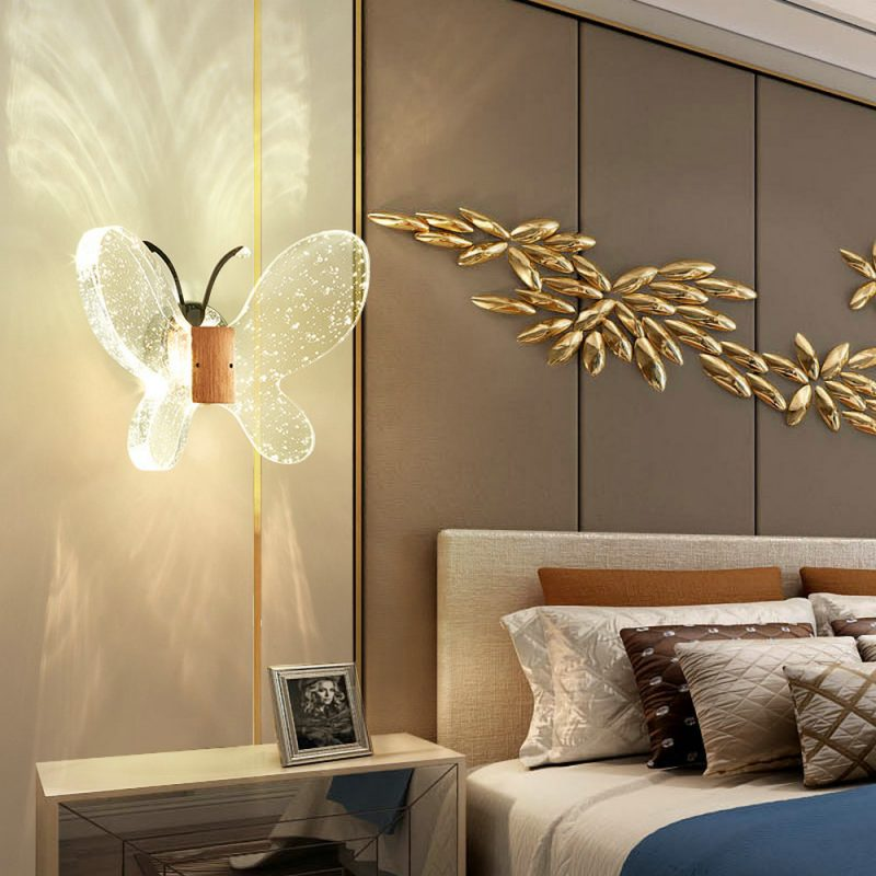 Nordic LED Wall Light Bubble Wall Sconce Butterfly Shape Wall Lamp Bedside Light QM6007