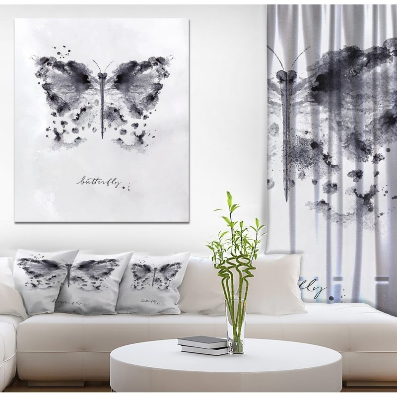 Shop Designart 'Monotype butterfly black' Animals Painting Print on Wrapped Canvas - White - Overstock - 21275840