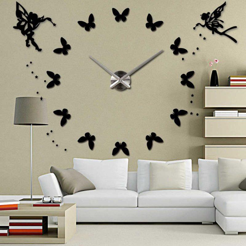 Silent 3D Large Wall Clock Modern Design Self adhesive DIY Clock Acrylic Butterfly Angel Wall Sticker for Living Room Decor|Wall Clocks| - AliExpress