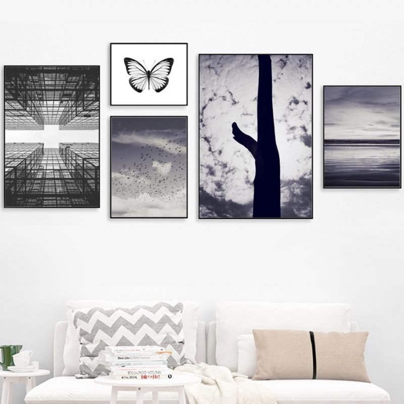 Sky Tree Butterfly Sea Landscape Wall Art Canvas Painting Nordic Posters And Prints Wall Pictures For Living Room Wall Decor|Painting & Calligraphy| - AliExpress